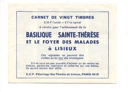 Carnet 20 Timbres - Basilique Ste Thérèse à LISIEUX - Fantasy Labels