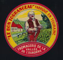 """étiquette Fromage Le Bon Tourangeau Fromagerie De La Vallée De L'egronne  Touraine """" Homme, Vaches"""" étiq Vernie - Cheese"""