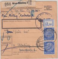 DR - 2x25 Pfg Hindenburg Walze/Oberrand Paketkarte Wien-Mödling - Altenburg 1942 - Brieven En Documenten