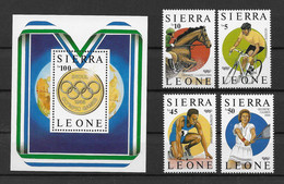 Sierra Leone 1987 Olympia Mi.Nr. 997/1000 Kpl. Satz + Block 61 ** - Sierra Leone (1961-...)