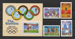 Gambia 1987 Olympia Mi.Nr. 706/09 Kpl. Satz + Block 38 ** - Gambia (1965-...)