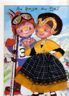 Carte Brodee Au Pays Du Ski, Savoyards, Illustrateur Eloi - Borduurwerk