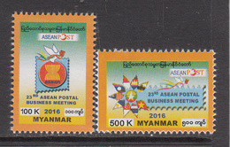 2016 Myanmar ASEAN Postal Business Flags  Complete Set Of 2 MNH - Myanmar (Birmanie 1948-...)