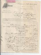 FACTURE ENVOYEE A LA MERE SUPERIEURE DE L'HOTEL DIEU DE BAYEUX   Malaurent  Bordeaux 1901  Rare - 1900 – 1949