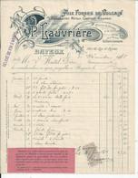 BAYEUX   FACTURE ENVOYEE A LA MERE SUPERIEURE DE L'HOTEL DIEU DE BAYEUX  AUX FORGES DE VULCAIN 1915 - 1900 – 1949