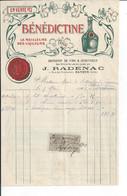 BAYEUX   FACTURE ENVOYEE A LA MERE SUPERIEURE DE L'HOTEL DIEU   Tres Belle Facture  BENEDICTINE 1903 - 1800 – 1899