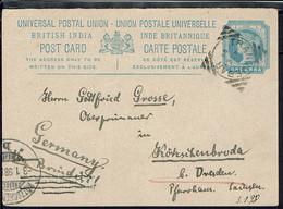 Gr-Bretagne - British India - Entier Postal One Anna De Tranquebar 3-1-1898, Via Brindisi, Pour Dresden (All) B/TB - - 1882-1901 Empire