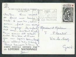 Croix Rouge No 1323 Seul Sur Carte Postale De Hyères Les Palmiers (Var) - 1921-1960: Modern Period