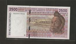 Afrique De L'Ouest (Etats D', 2,500 Francs, D For Mali - West African States