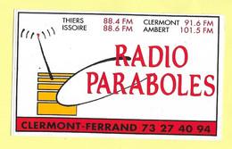 AUTOCOLLANT STICKER - RADIO PARABOLES CLERMONT-FERRAND THIERS ISSOIRE AMBERT - Stickers