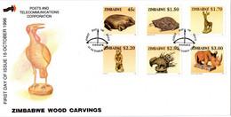 Zimbabwe - 1996 Animal Wood Carvings FDC # SG 932-937 - Zimbabwe (1980-...)