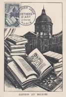 Carte  Maximum  1er  Jour    FRANCE    METIERS   D' ART  :  Edition  Et   Reliure    1954 - 1950-59