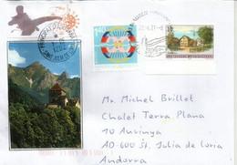 Lettre De Mauren FL, Envoyée Principauté Andorre, Avec Timbre à Date Arrivée Sur Vignette Locale Prevention Covid-19 - Covers & Documents