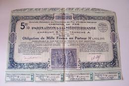 OBLIGATION DE  MILLE  FRANCS  - P.L.M.  PARIS A LYON & A LA  MEDITERRANEE  ( 1921 ) - Railway & Tramway