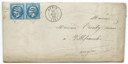 N° 22 BLEU NAPOLEON SUR LETTRE / AUBIN POUR VILLEFRANCHE / 1866 / LAC - 1849-1876: Periodo Classico