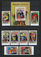 Manama - 3043/ N° 725/732 A + Bloc 140 A Masques Masks 1972 ** MNH Congo Katanga Japan - Manama