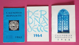 Lot De 3 Calendriers Bernadette Des Soeurs De Nevers 1962, 1964, 1968 - Formato Grande : 1961-70