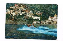 Costira Amalfitana  Positano Dal Mare Animata Con Motoscafo In Corsa Spedita 1963 - Salerno