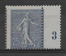 Semeuse 25c N° 132a Bleu Foncé - Timbre Court Avec Piquage Décalé Et Bdf à Millésime 3 ** TTBE -  Cote Y&T 2020 De 240 € - 1903-60 Säerin, Untergrund Schraffiert