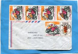 Marcophilie-lettre-Gabon >Françe-cad-MAKOKOU-1981-thematic-6-stamps-N°361 Moto Bul Taco+401 Insect Homoderus - Gabon