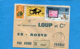 Marcophilie-lettre-TCHAD REC>Françe-cad-GORE-1976-thematic -3-stamps-N°a192 Polar Fahrt 1931+flower - Chad (1960-...)