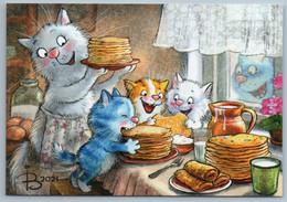 CATS FAMILY Pancake Day Shrovetide Milk Jug Comic Humor Russian New Postcard - Sin Clasificación
