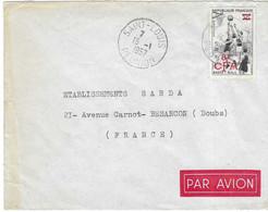 1957 / Enveloppe Avion / Cachet Saint-Louis / Réunion / Timbre Basket 30 F Surchargé 8 F CFA / Exp Mme Cadet à St-Louis - Ohne Zuordnung