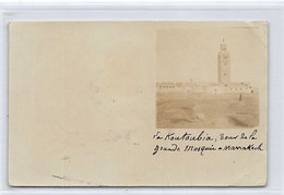 MARRAKECH - La Koutoubia - CARTE PHOTO Novembre 1910 - Marrakesh