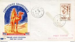 """Algérie/France; FDC 1952 """" Compagnies Sahariennes """" - Storia Postale"""