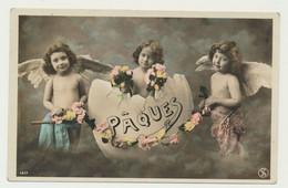 Carte Fantaisie Anges Et Oeuf De Pâques - Angels