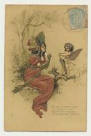 Carte Fantaisie Illustrateur Gaufrée  Ange Femme  Lettre Message - Angeles