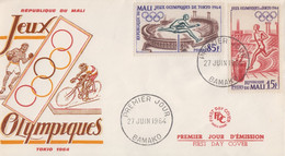 Enveloppe  FDC   1er  Jour    MALI   Jeux  Olympiques  TOKYO   1964 - Ete 1964: Tokyo
