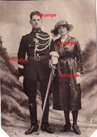 Orginal Photo Belge Gendarm With Sword Full Unform Rijkswachter Willems Leon Maldegem En Vrouw Sabel Tijdens Wo1 - 1914-18