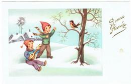 Bonne Année - Village Enneigé & Enfants + Oiseau - Nieuwjaar