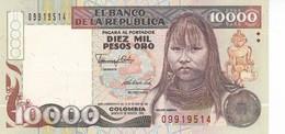 BILLETE DE COLOMBIA DE 10000 PESOS DE ORO AÑO 1992 EN CALIDAD EBC (XF) (BANKNOTE) - Colombia