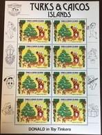 Turks & Caicos 1984 Donald Duck Disney Sheetlet MNH - Turks E Caicos