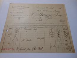 T654 / Facture CONFECTION TISSUS BONNETERIE ET MERCERIE EN GROS - P. SIMON Successeur à LISIEUX Calvados - Invoices