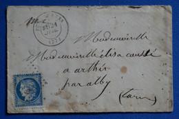 R17 FRANCE BELLE LETTRE 1871 VOYAGEE PUY LAURENS A ARTHEZ + AFFRANCHISSEMENT INTERESSANT - 1871-1875 Ceres