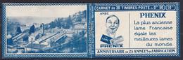 Publicité - YT 199e Semeuse 50c Rouge Type IIB - 1/2 Carnet 199-C38 (Maury : CA 100)   Neuf** Cote :  90€. - Werbung
