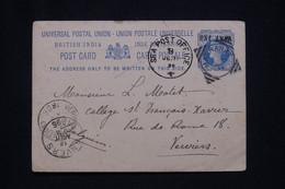 INDE- Entier Postal Type Victoria De Magrahat Pour La Belgique En 1896 - L 96817 - 1882-1901 Empire