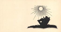 """02802  """"CARTONCINO PARTECIPAZIONE NASCITA DECORATO CON SILHOUETTE IN NERO"""" ORIG. - Birth & Baptism"""