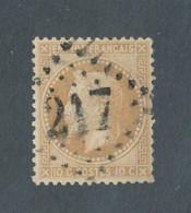 FRANCE - N° 28A OBLITERE AVEC GC 217 AUDINCOURT DOUBS - 1867 - COTE : 20€ - 1863-1870 Napoleon III Gelauwerd