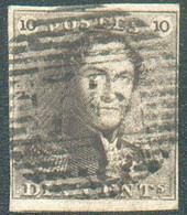 N°1 - Epaulette 10 Centimes Brune, TB Margée Et Petit Bdf Inférieur, Obl. P.76LOUVAINidéalement Apposée. -Superbe - - 1849 Hombreras