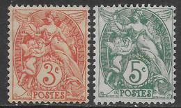 Francia France 1900-1924 Blanc 2val YT N.109,111 MH * - 1900-29 Blanc