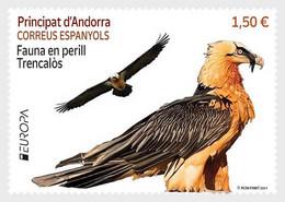 Andorra (Spain).2021.Europa CEPT.Endangered National Wildlife.Bearded Vulture.1 V. ** . - 2020