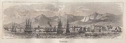 C3168 Antille - Trinidad - Panorama - Xilografia D'epoca - 1878 Engraving - Stampe & Incisioni