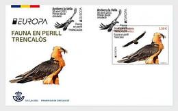 Andorra (Spain).2021.Europa CEPT.Endangered National Wildlife.Bearded Vulture.FDC. - Briefe U. Dokumente