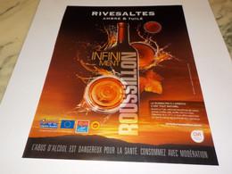 ANCIENNE PUBLICITE AMBRE TUILE APERITIF VIN RIVESALTES 2014 - Alcools