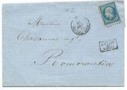 N° 14 BLEU NAPOLEON SUR LETTRE / CLERMONT FERRAND POUR ROMORANTIN / 28 AOUT 1859 - 1849-1876: Periodo Classico