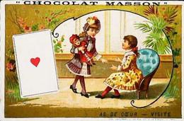 ► CHROMO - Jeu De Cartes -  As De Coeur  La Visite Amoureux  Poupée Doll   Chocolat Masson - Otros